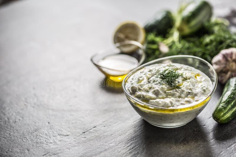 Tzatziki sause i en citron och en vitlök för olivolja för gurka för dill för exponeringsglasbunke royaltyfri bild