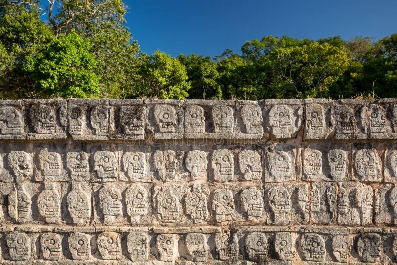 Tzompantli vägg av skallar, Chichen Itza, Mexico royaltyfri foto