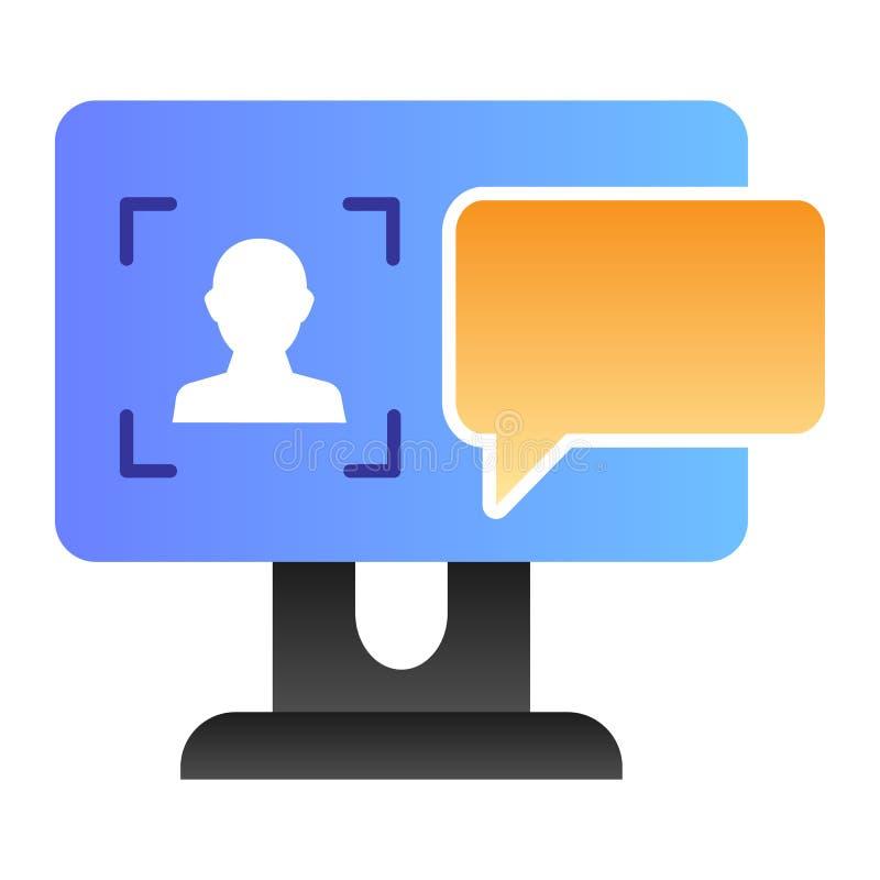 Użytkownik na komputerowej monitoru mieszkania ikonie Autoryzacja koloru ikony w modnym mieszkanie stylu Dialog okno na parawanow ilustracja wektor