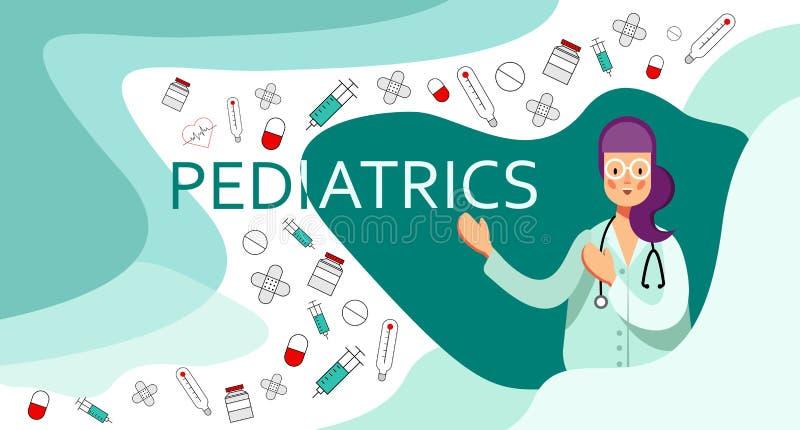 Uśmiechnięta kobiety lekarka w eyeglasses z stetoskopów punktami na słowo opieki zdrowotnej i pediatri ikonach, ilustracja wektor