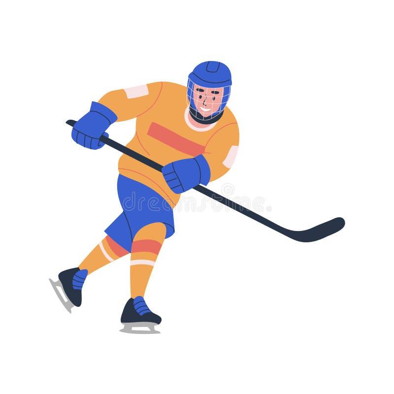 Uśmiechnięta młoda nastolatek chłopiec bawić się hokej na lodzie grę royalty ilustracja
