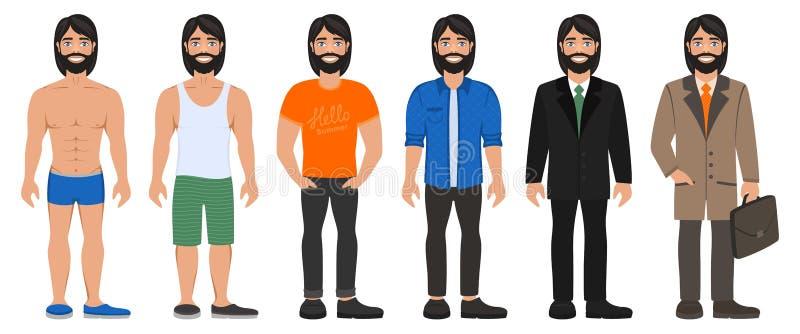 Uśmiechnięty przystojny mężczyzna w różnych typach odziewa ilustracji