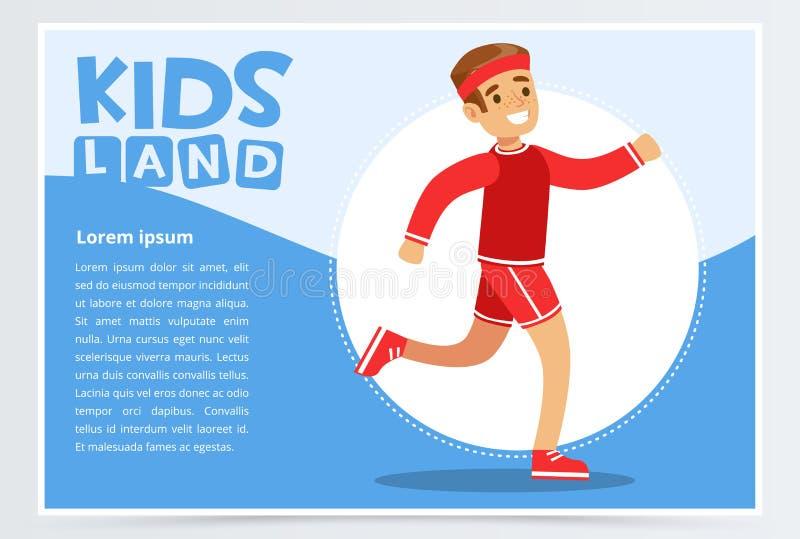 Uśmiechnięty sportive chłopiec bieg, dzieciaki ląduje sztandaru płaskiego wektorowego element dla strony internetowej app lub wis ilustracji
