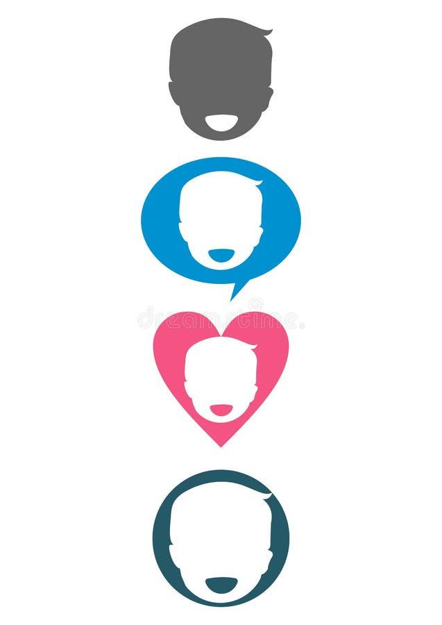 Uśmiechu śmiechu dziecko - miłości opieki gadki rozmowy symbolu ikona ilustracja wektor