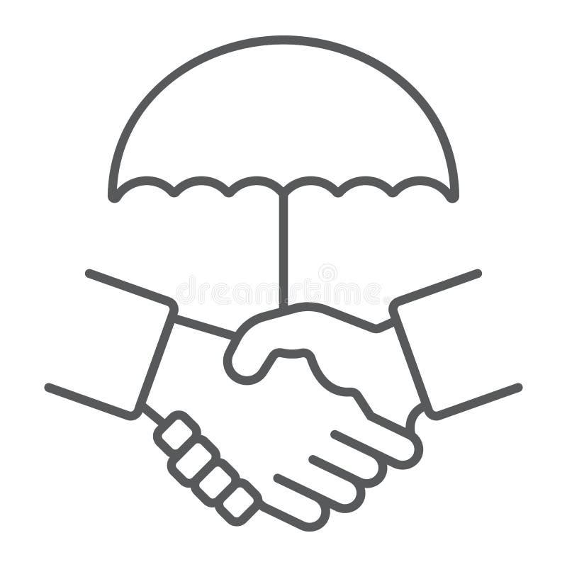 Uścisk dłoni cienka kreskowa ikona, prywatność i zaufanie, ochrona traktatu znak, wektorowe grafika, liniowy wzór na bielu royalty ilustracja