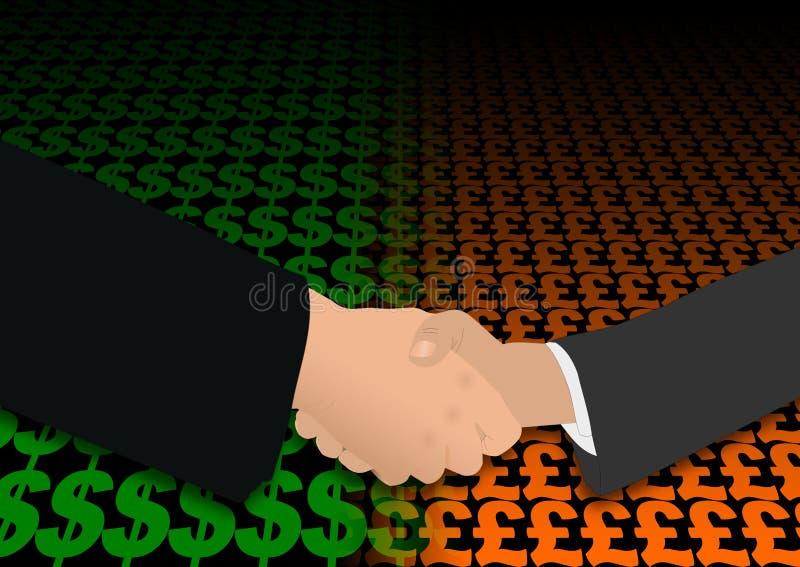 uścisk dłoni dolarowy funt ilustracji