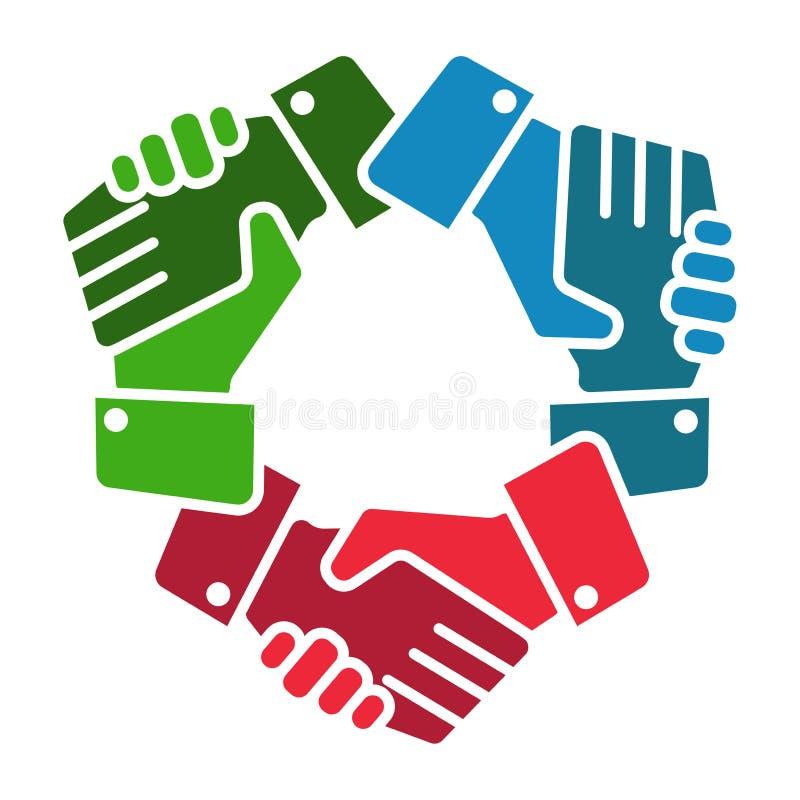Uścisk dłoni drużyna wręcza loga na bielu ilustracja wektor