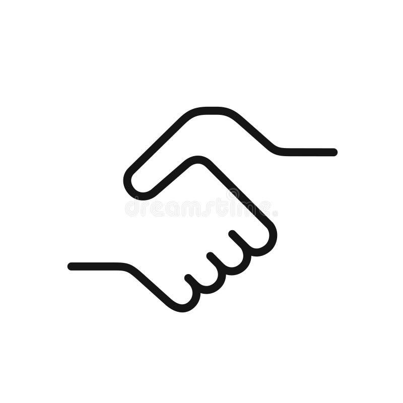 Uścisk dłoni ikona, prosty jeden czerni kreskowa ilustracja royalty ilustracja