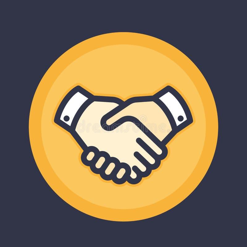 Uścisk dłoni ikona, transakcja, partnerstwo, trząść ręki royalty ilustracja