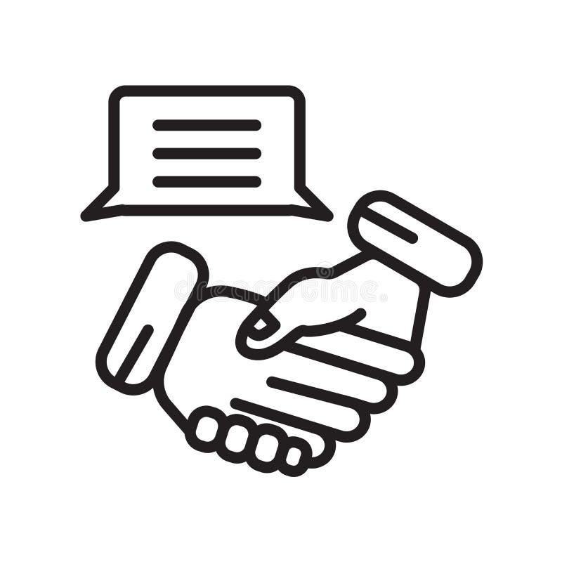 Uścisk dłoni ikony wektor odizolowywający na białym tle, uścisku dłoni znak ilustracji