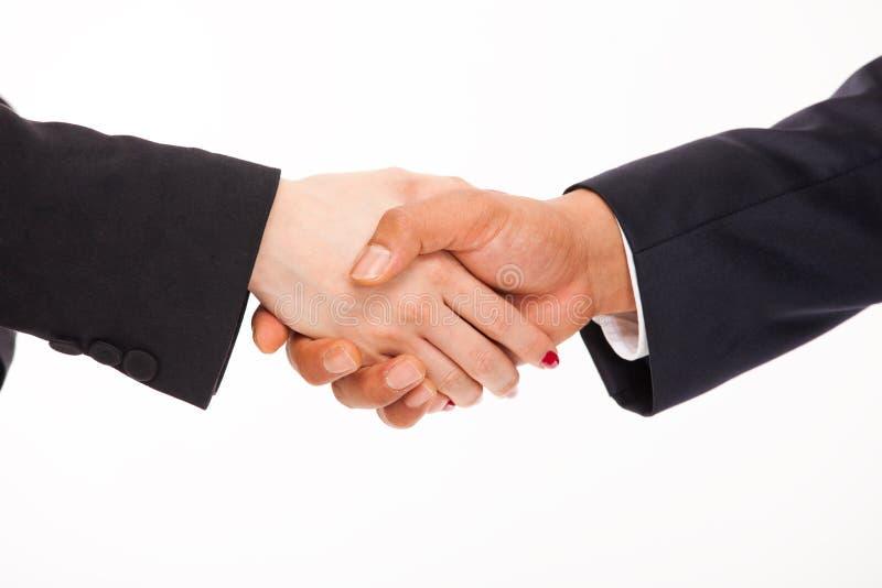 Uścisk dłoni kobiety i mężczyzna. obrazy stock