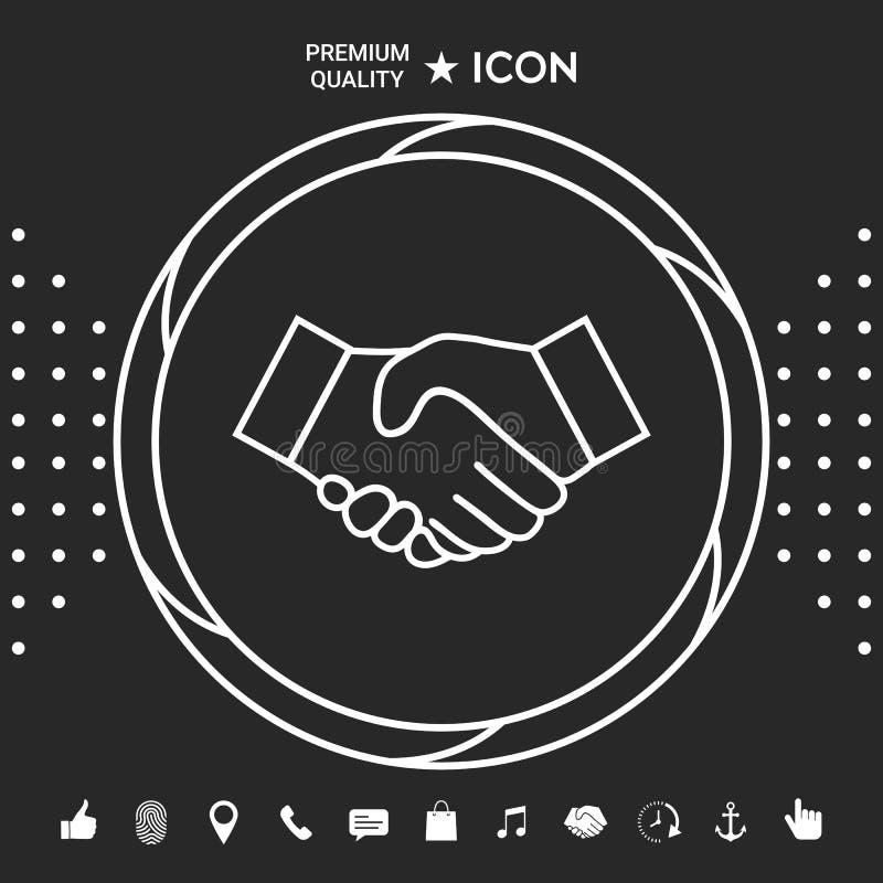 Uścisk dłoni kreskowa ikona Graficzni elementy dla twój designt royalty ilustracja