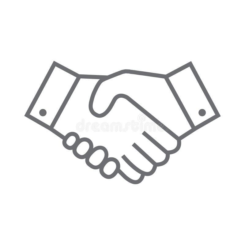Uścisk dłoni kreskowa ikona Partnerstwa i zgody symbol ilustracja wektor