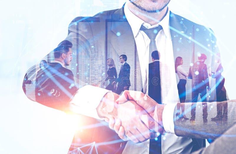Uścisk dłoni ludzie biznesu, cyfrowa sieć zdjęcia royalty free