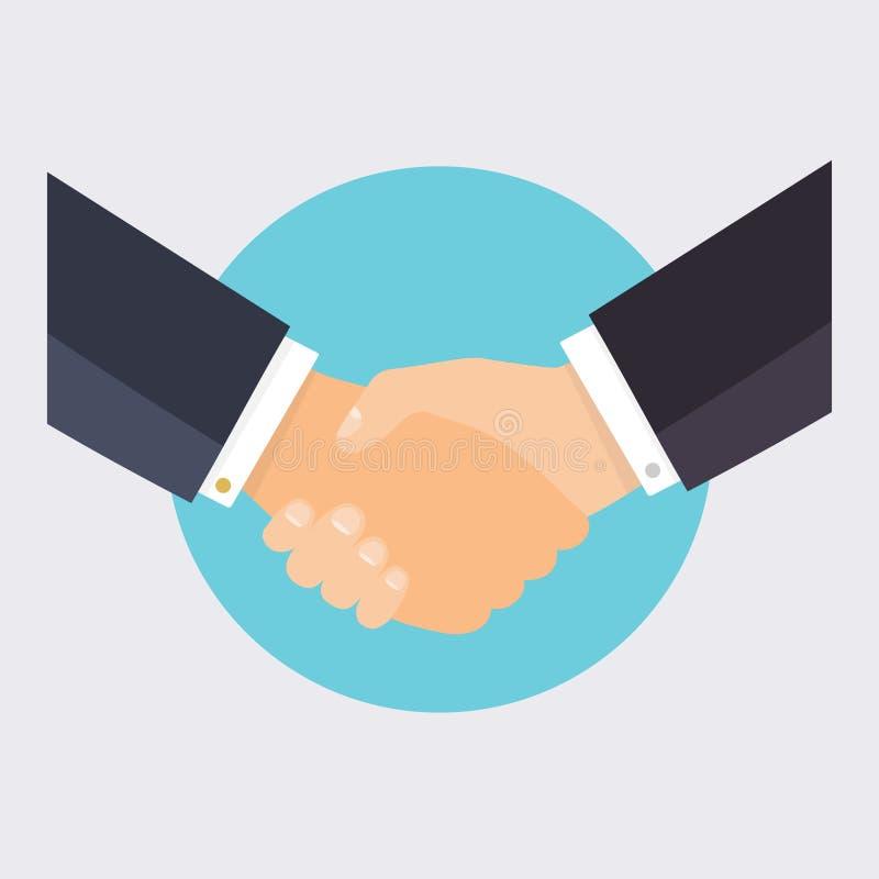 Uścisk dłoni ludzie biznesu Płaskiego projekta nowożytny wektorowy illustra ilustracji