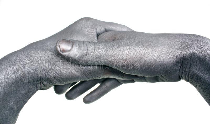 Uścisk dłoni malujący srebro zdjęcie royalty free