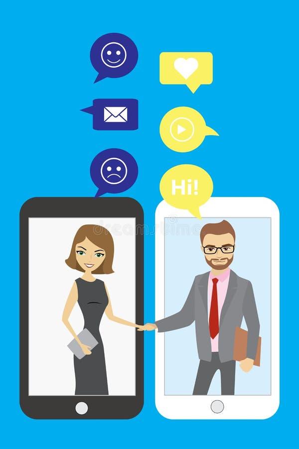 Uścisk dłoni między ludźmi biznesu Mobilna technologia i chattin ilustracja wektor