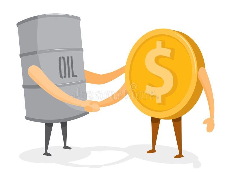 Uścisk dłoni między nafcianą baryłką, złocistą monetą i pieniądze ilustracja wektor