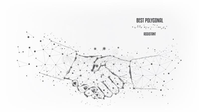 Uścisk dłoni od trójboków i świecących punktów Pojęcie pomyślny biznesowy projekt Czarno bia?y Wektor poligonalny ilustracji