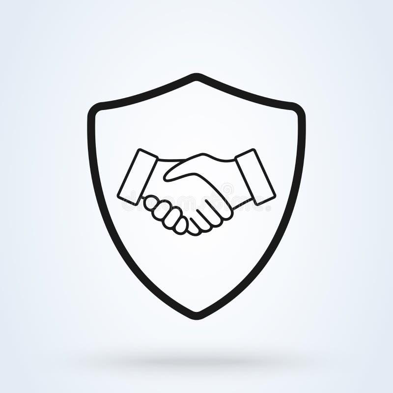 Uścisk dłoni osłony ochrony ikony wektoru ilustracja Oddanie biznes ilustracja wektor