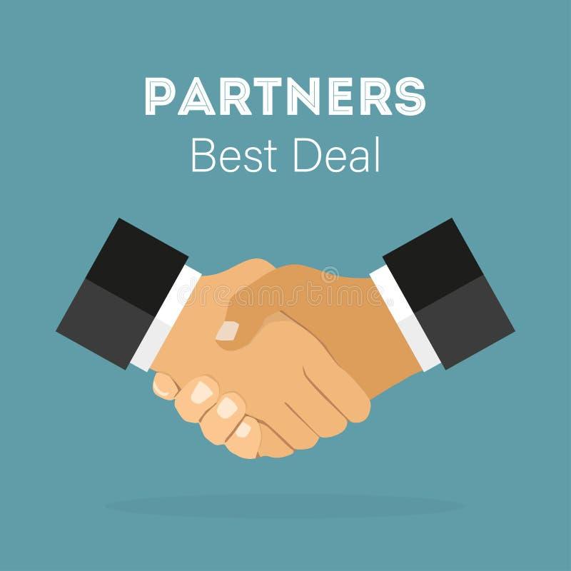 Uścisk dłoni partnery biznesowi, Najlepszy transakcja w mieszkanie stylu illustr, ilustracja wektor