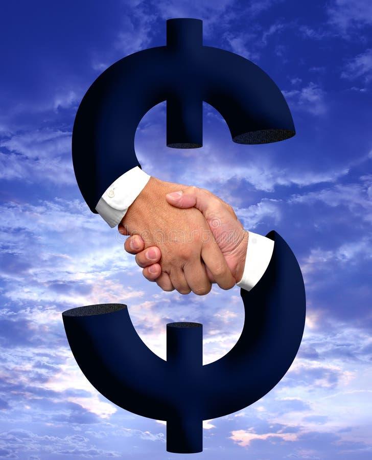 uścisk dłoni pieniądze znak obraz stock