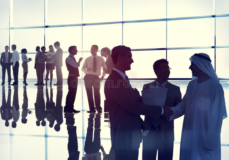 Uścisk dłoni pracy zespołowej spotkania Drużynowej konferenci ludzie biznesu zdjęcie stock