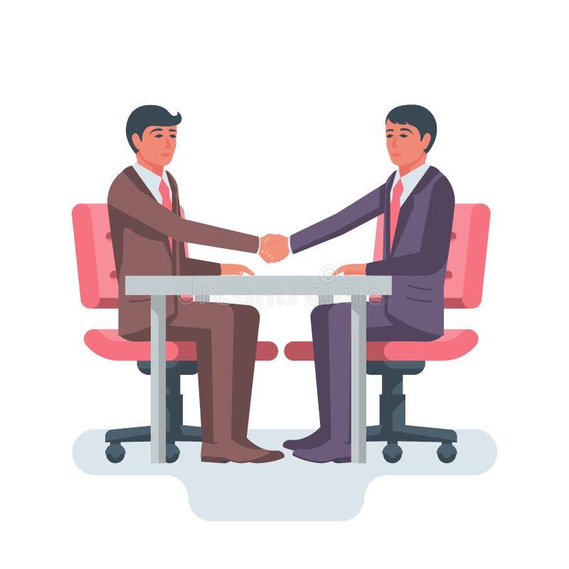 Uścisk dłoni przy stołem Zaczynać biznesowego związek ilustracja wektor