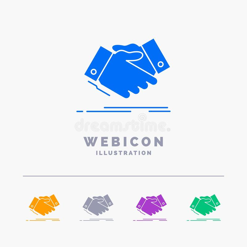 uścisk dłoni, ręki potrząśnięcie, trząść rękę, zgoda, biznesu 5 koloru glifu sieci ikony szablon odizolowywający na bielu r?wnie? ilustracji