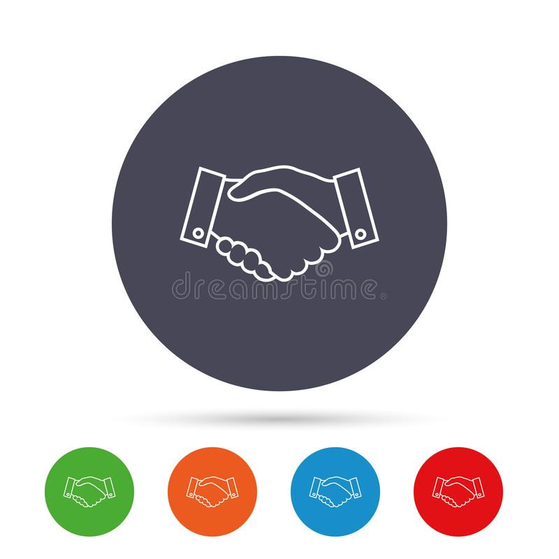 Uścisk dłoni szyldowa ikona Pomyślny biznesowy symbol royalty ilustracja