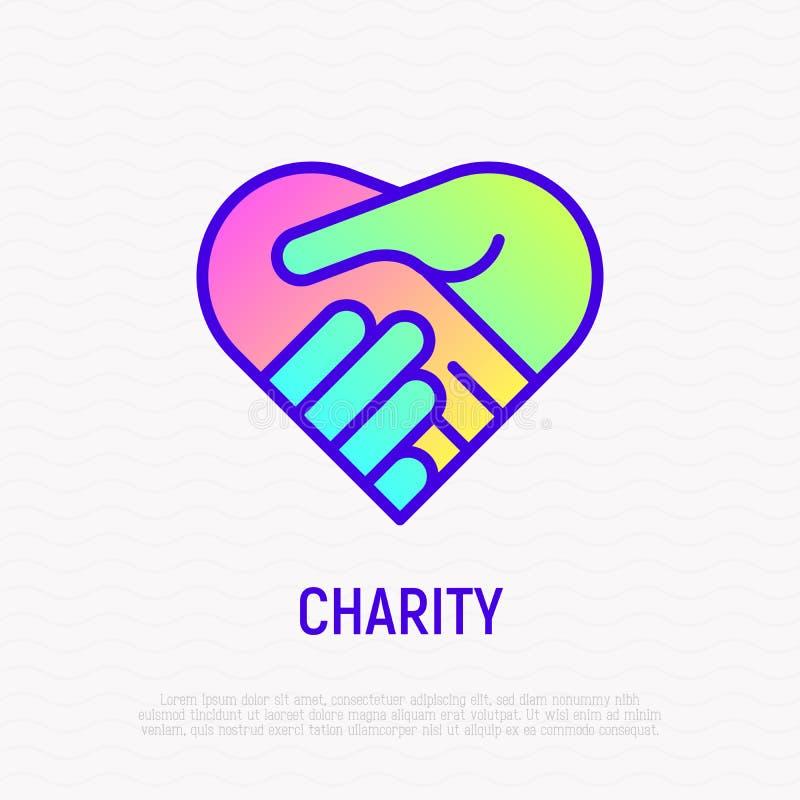 Uścisk dłoni w serce cienkiej kreskowej ikonie z gradientem royalty ilustracja