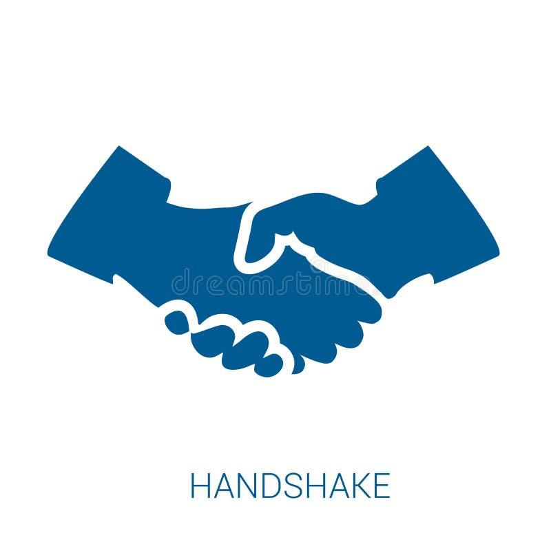 Uścisk dłoni wektorowa błękitna płaska ikona ilustracja wektor