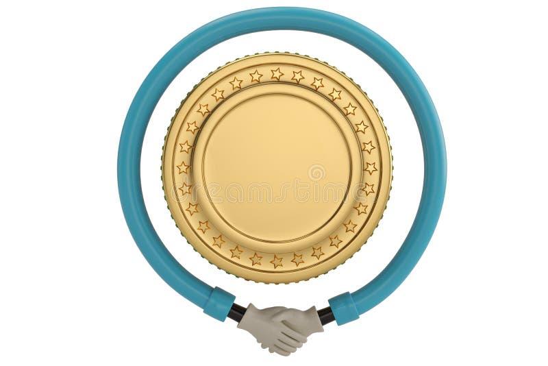 Uścisk dłoni wokoło złocistej monety na białym tle ilustracja 3 d royalty ilustracja