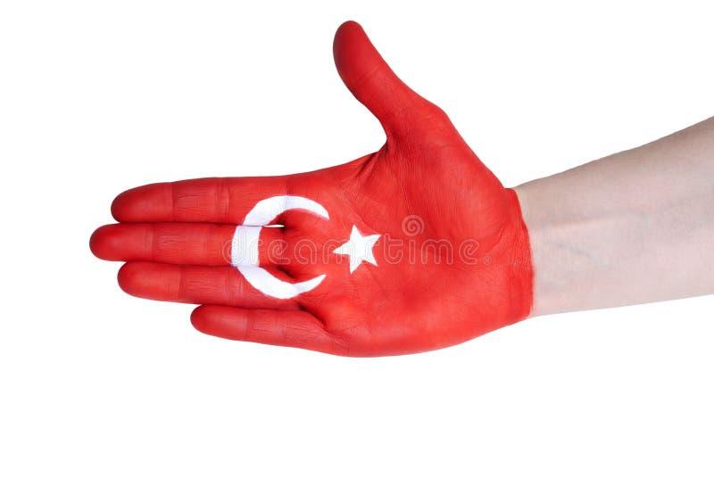 Uścisk dłoni z turecką flaga fotografia stock