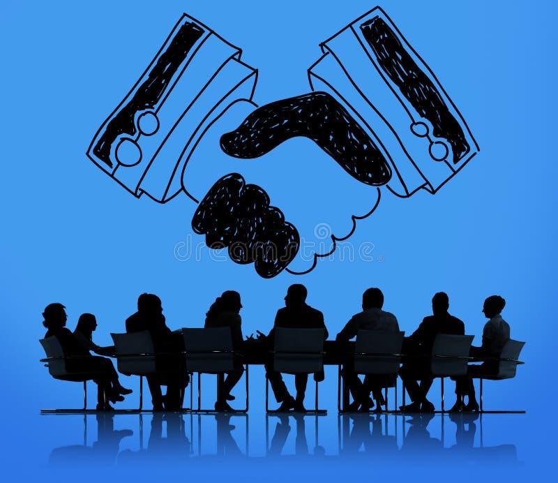 Uścisk dłoni zgody partnerstwa transakci zaufania powitania pojęcie royalty ilustracja