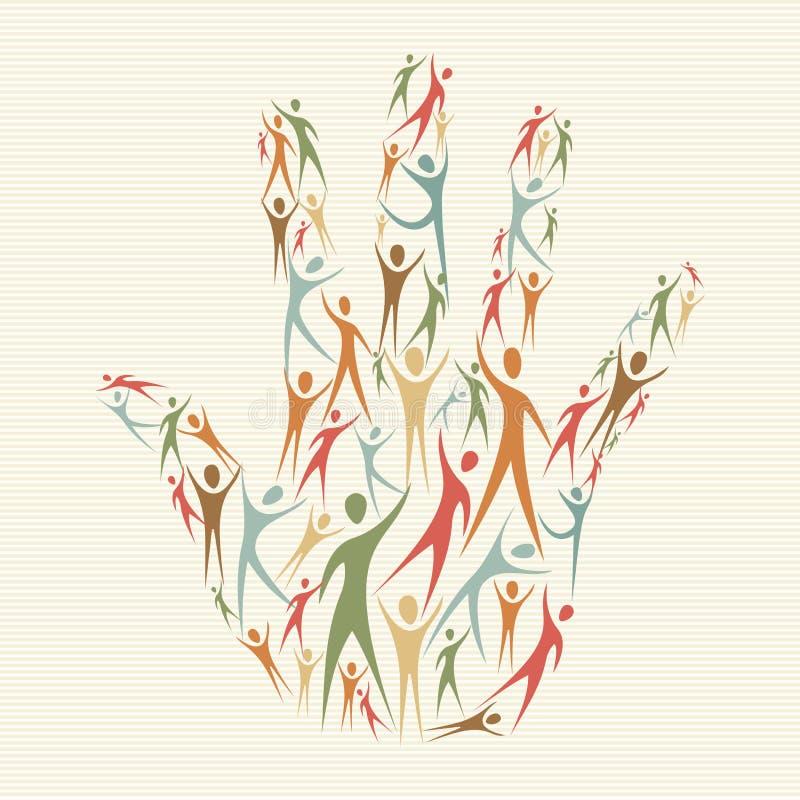 Uścisk różnorodności pojęcia ręka royalty ilustracja
