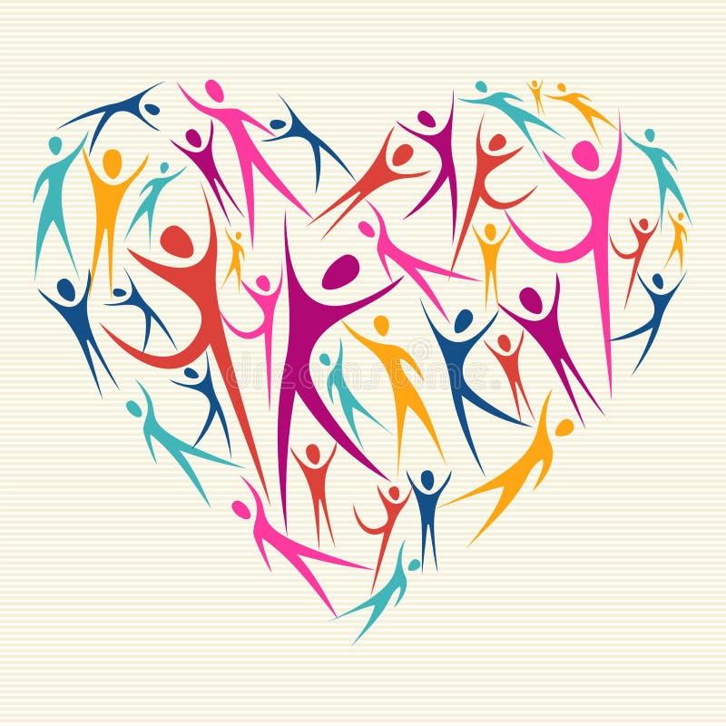 Uścisk różnorodności pojęcia serce ilustracja wektor