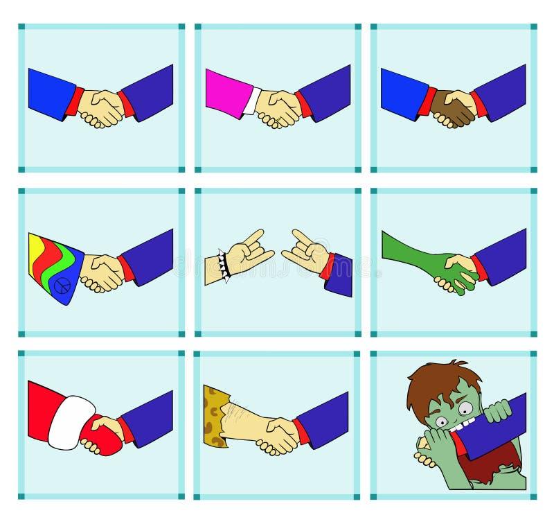 Uściski dłoni z różnymi przedstawicielami ludzkość ilustracji