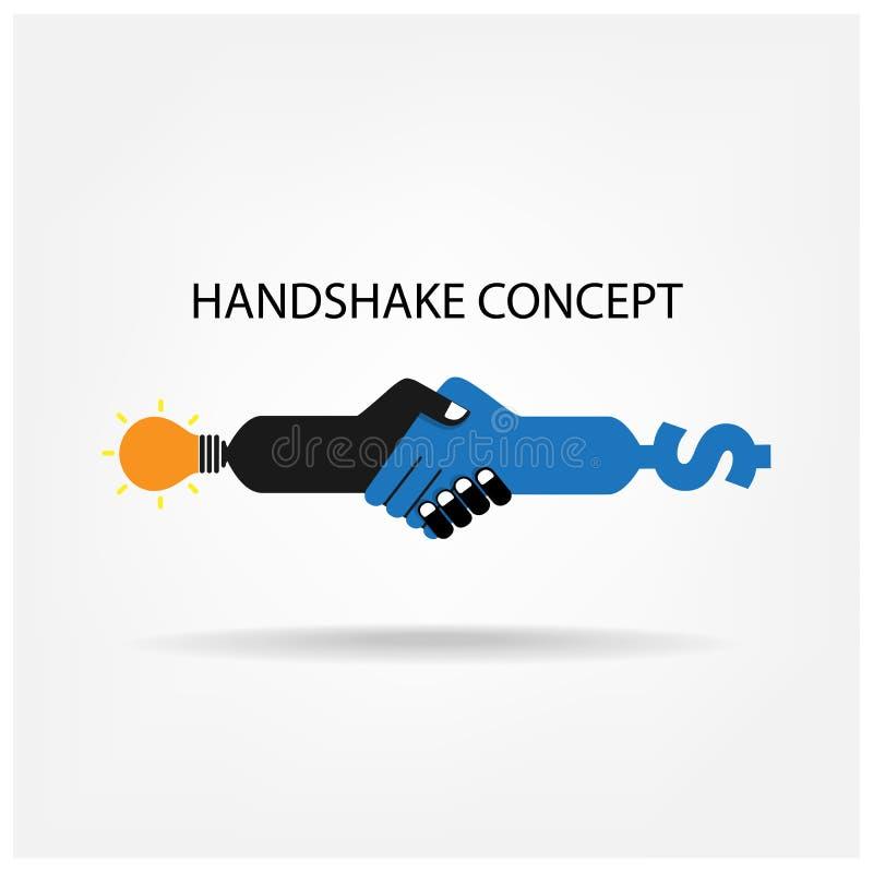 Uścisku dłoni abstrakta znaka projekta wektorowy szablon ilustracja wektor