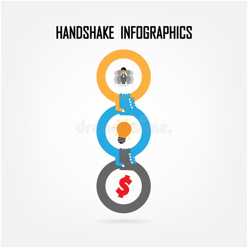Uścisku dłoni abstrakta znaka wektorowy projekt ilustracji