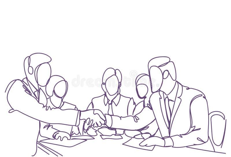 Uścisku dłoni pojęcia Dwa Biznesowych mężczyzna lidery Trząść ręki Doodle sylwetkę Nad spotkaniem Pomyślne drużyny ilustracji