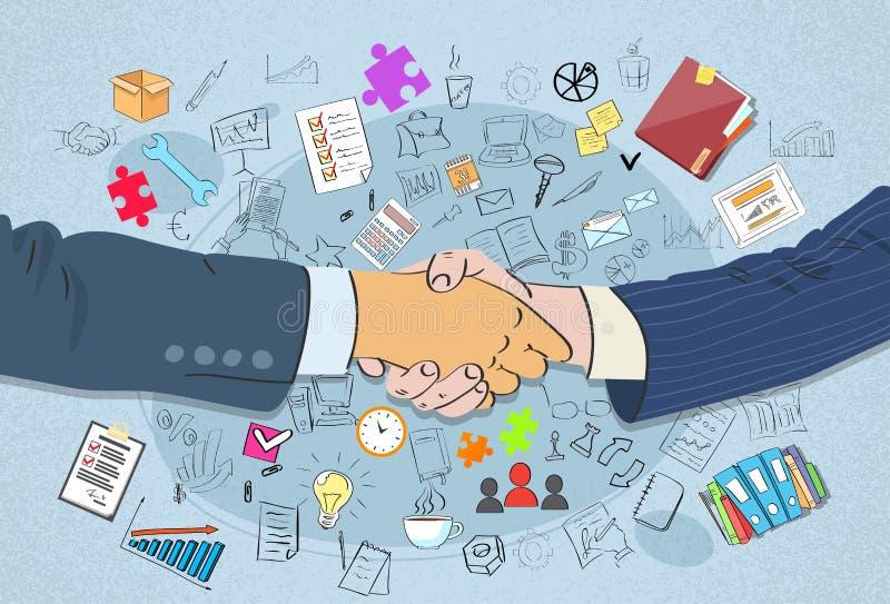 Uścisku dłoni pojęcia ręk potrząśnięcia Biznesowy Doodle royalty ilustracja