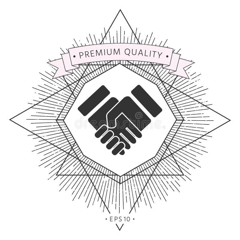 Uścisku dłoni stylizowany symbol royalty ilustracja