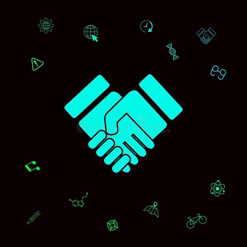 Uścisku dłoni stylizowany symbol Graficzni elementy dla twój designt ilustracja wektor