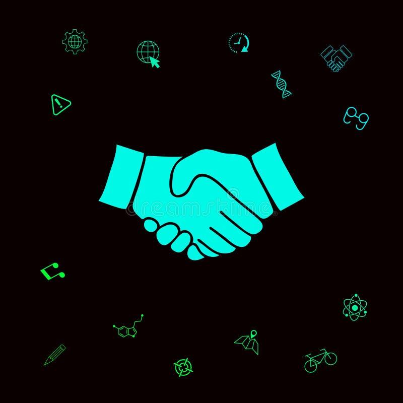 Uścisku dłoni symbolu ikona Graficzni elementy dla twój designt royalty ilustracja