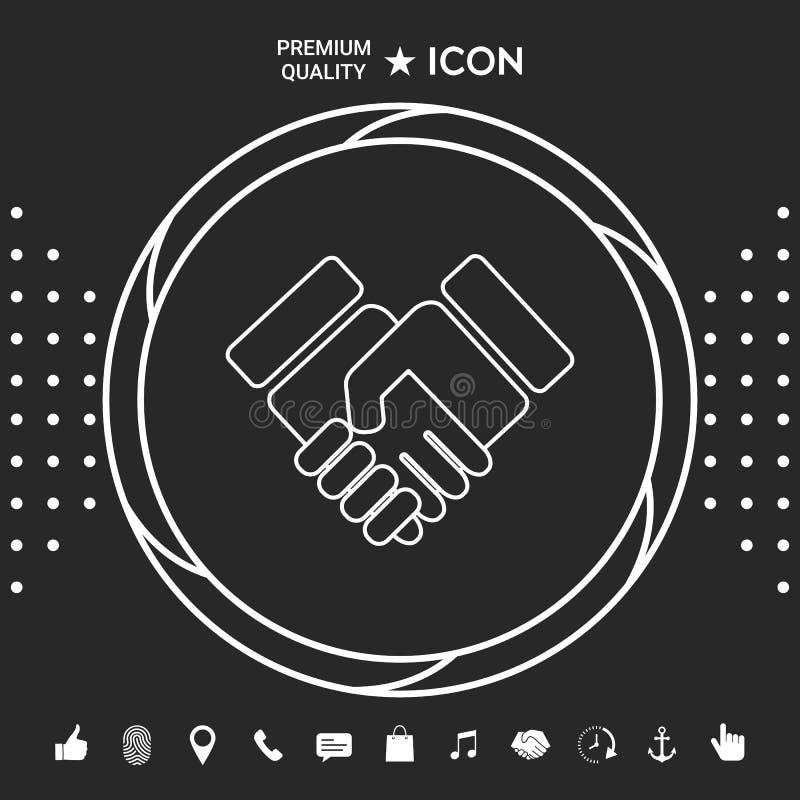 Uścisku dłoni symbolu ikona Graficzni elementy dla twój designt ilustracja wektor