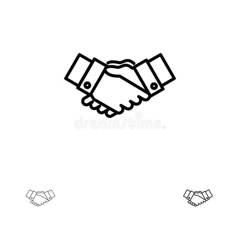 Uścisku dłoni, zgody, biznesu, ręk, partnerów, partnerstwa czerni linii ikony set, Śmiały i cienki ilustracji