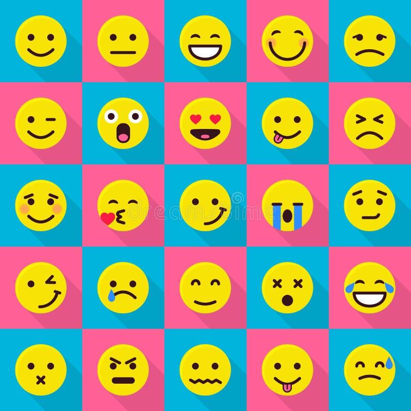Uśmiechów emoticons ikony ustawiać, mieszkanie styl ilustracji
