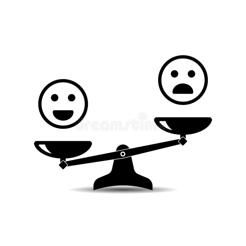 Uśmiechów emoticons różny nastrój dalej waży, wektorowa ikona royalty ilustracja