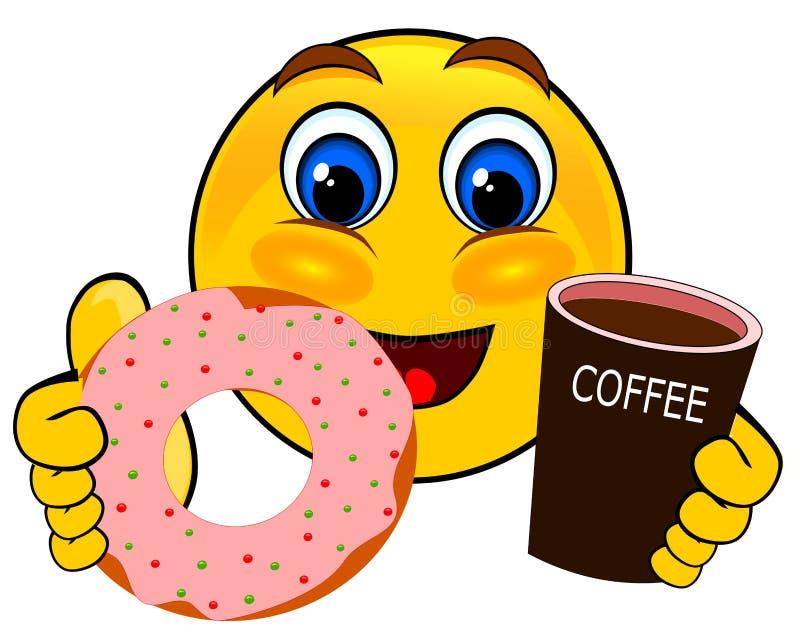 Uśmiechów emoticons trzyma kawę i pączek ilustracja wektor